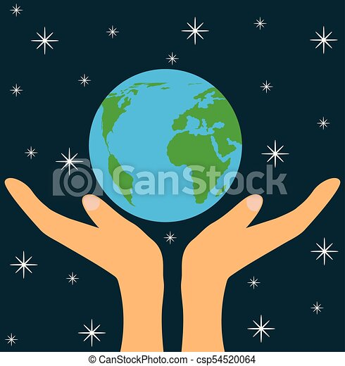 God's Hands Holding Planet Earth in Space - csp54520064