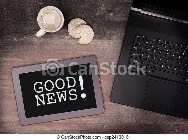 goed, tablet, houten, gadget, computer, beroeren, nieuws, tafel - csp24130181