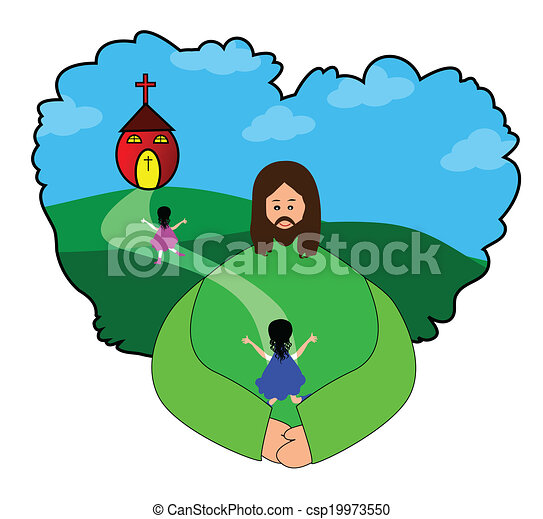 Going to church. Vector illustrations of happy children ...