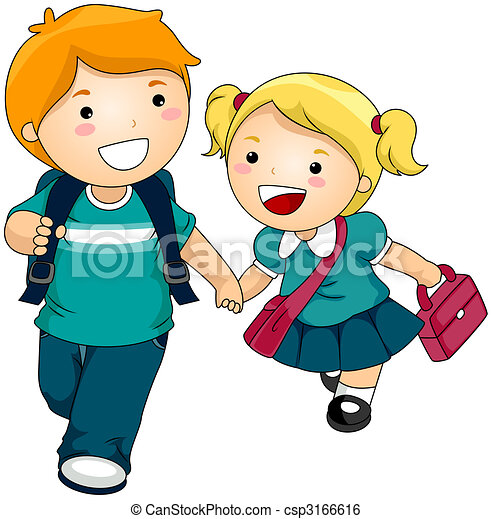 siblings going to school stock illustration search clip art rh canstockphoto com going back to school clipart kid going to school clipart