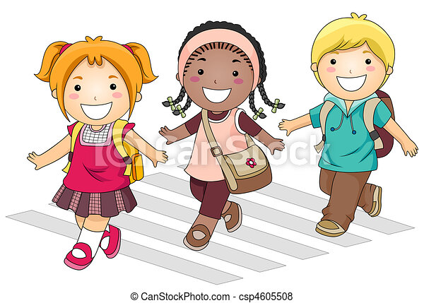 a small group of kids crossing the street going to school stock rh canstockphoto com  small group work clipart