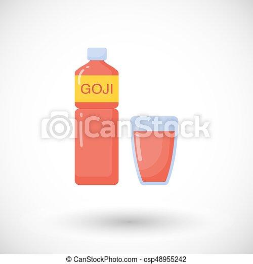 Goji Berries Juice Vector Flat Icon Flat Design Of Superfood