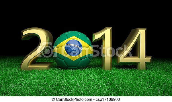 Gold 2014 with Brazilian soccer ball on grass - csp17109900