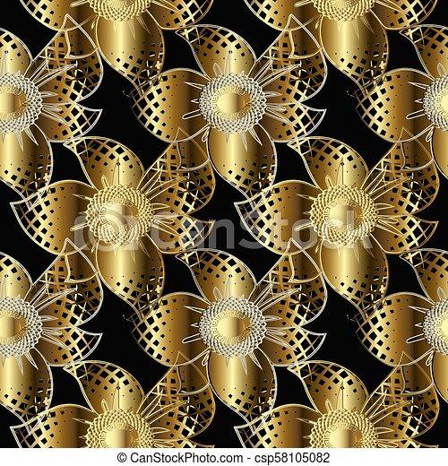 Gold 3d Flowers Seamless Pattern