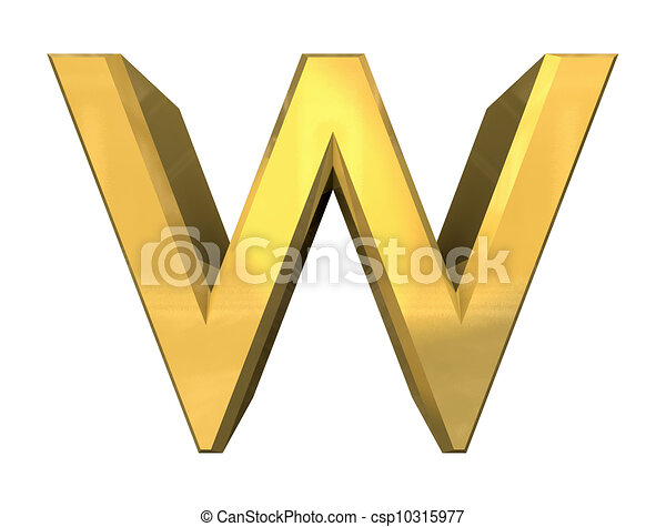 Gold 3d letter w - 3d made stock illustrations - Search EPS Clipart ...