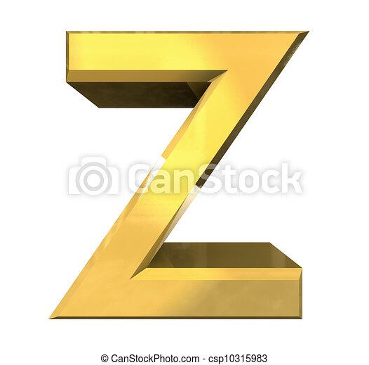Gold 3d Letter Z