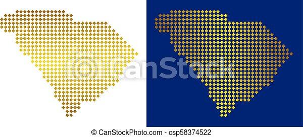 Gold Abstract South Carolina State Map