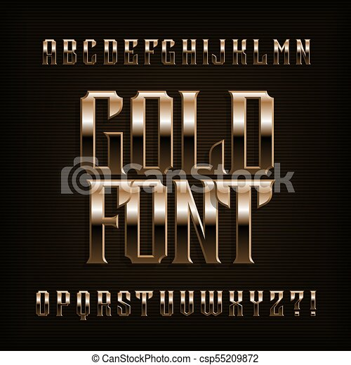 Gold Alphabet Font Fantasy Metal Effect Letters Numbers And