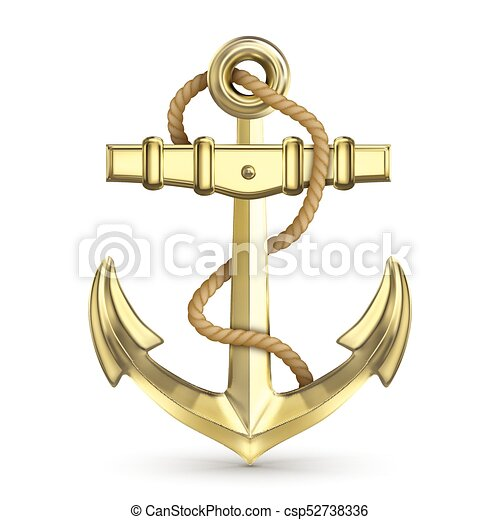 Gold Anchor With Rope Isolated On A White Background