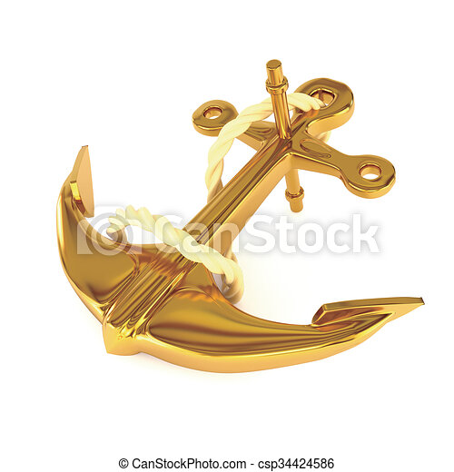 Gold Anchor With Rope Isolated On A White Background 3d Illustration
