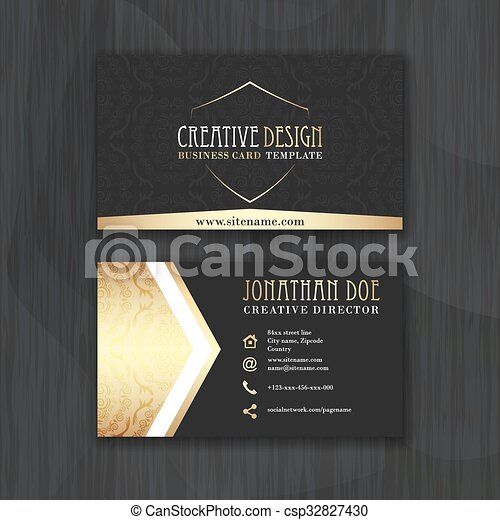 Gold And Black Horizontal Business Card Template Design For - Horizontal business card template