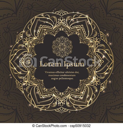 gold and black invitation template with floral mandala vectors