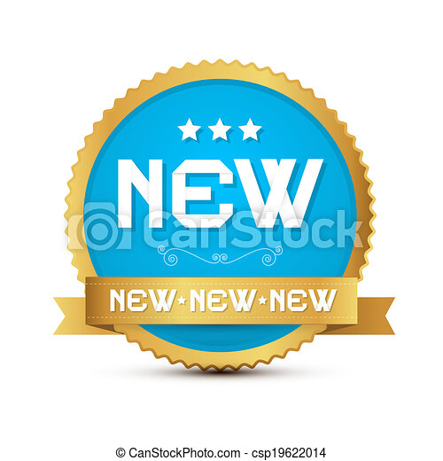 Gold and Blue Vector Sticker - Label with Paper New Title - csp19622014