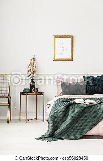 Gold And Green Bedroom Interior Gold Table With Leaf Between Bed And Chair In Green Bedroom Interior With Mockup Of Poster Canstock