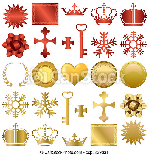 Gold and red design ornaments set - csp5239831