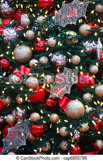 gold and silver balls on christmas tree csp6855795 - Red And Silver Christmas Decorations