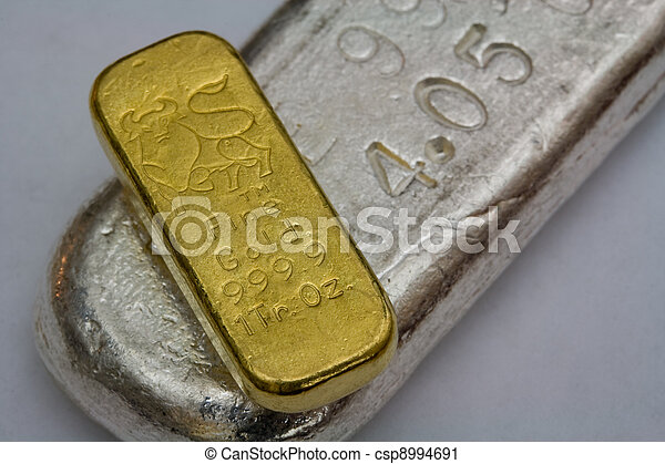 Gold and Silver Bullion Bars - csp8994691