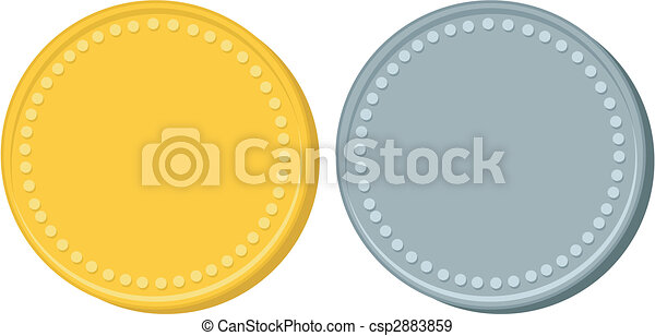 Gold and Silver Coins - csp2883859