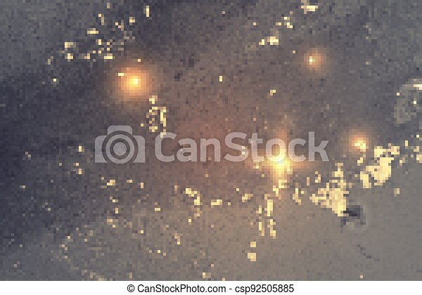Gold and silver gray abstract marble background with sparkles - csp92505885