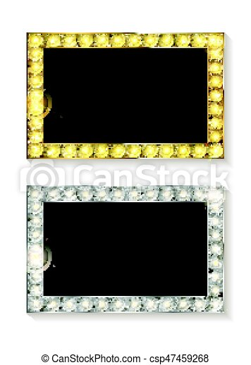 Gold and silver vector picture frames. Set of gold with silver frame ...