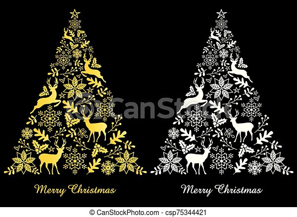 Gold and white abstract Christmas trees, vector - csp75344421