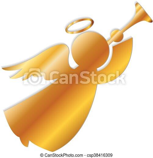 Gold Angel Logo - csp38416309