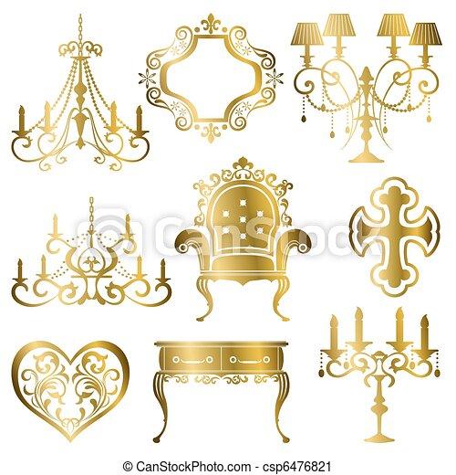 Gold antique design element set - csp6476821