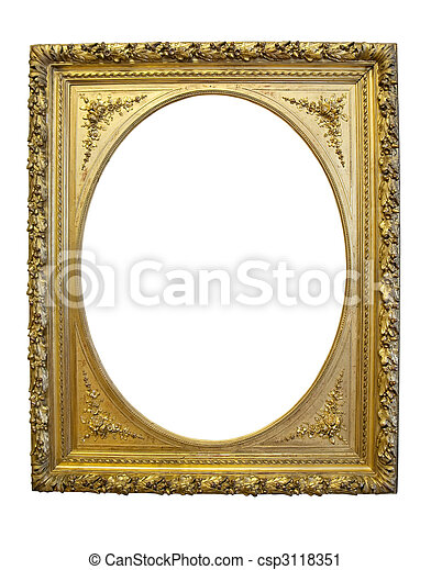 Gold antique oval frame isolated on white background . Vintage gold ...