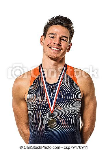 gold, athletik, hintergrund, junger mann, athetle, medaillengewinner, freigestellt, weißes - csp79478941