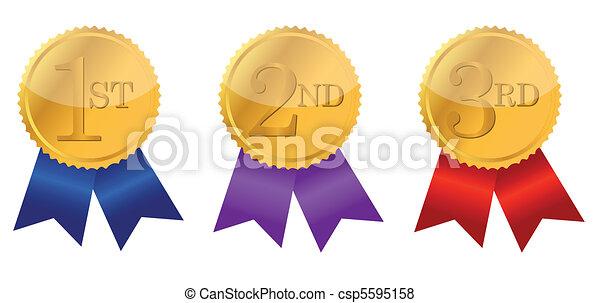 gold award ribbons  - csp5595158