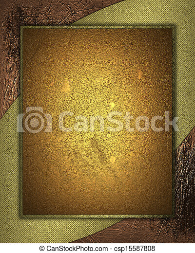 Gold Background with abstract gold pattern and gold nameplate. - csp15587808