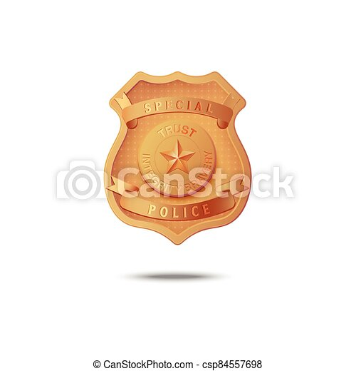 Gold badge of special police - vector illustration on a white background. - csp84557698