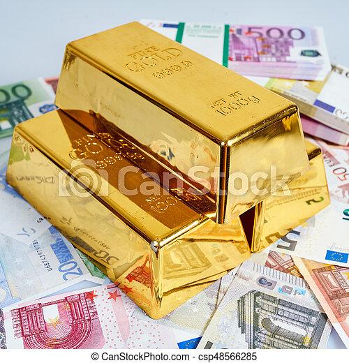 Gold Bar And Euro Money Financial Concept