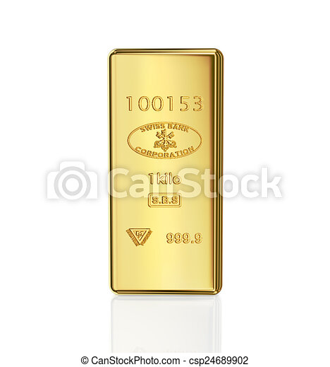 gold bar on white background - csp24689902