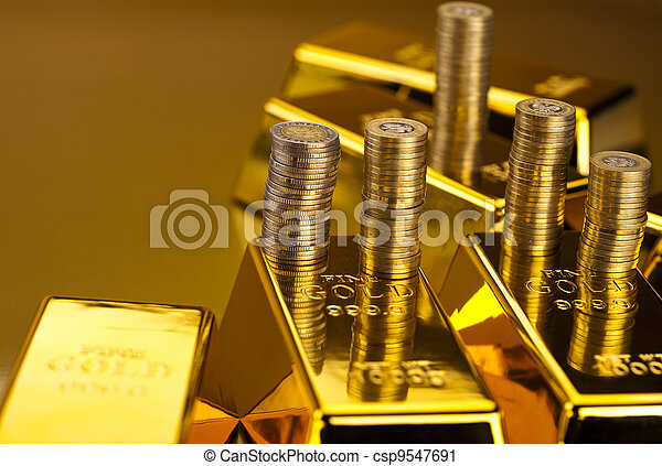 Gold bars and coins  - csp9547691