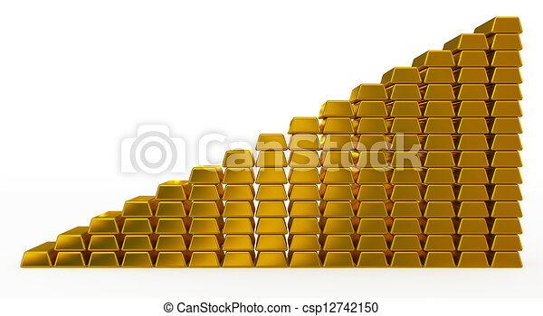 gold bars chart - csp12742150