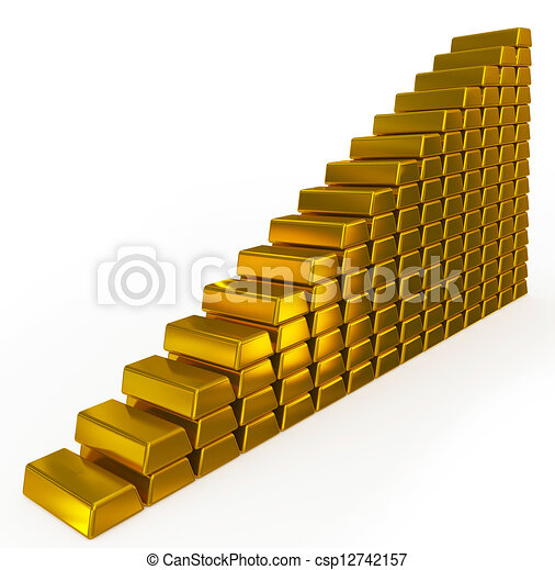 gold bars chart - csp12742157