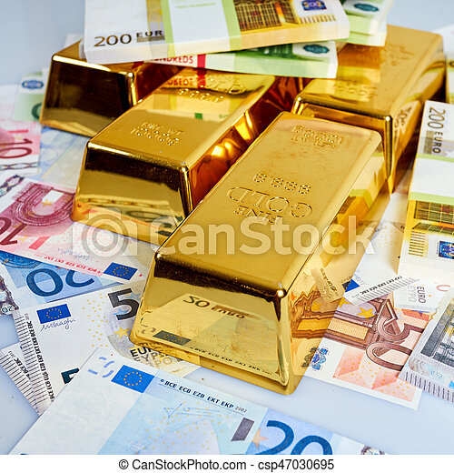 Gold Bars Financial Business Investment Concept Euro Money