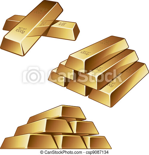 Gold bars on white background - csp9087134