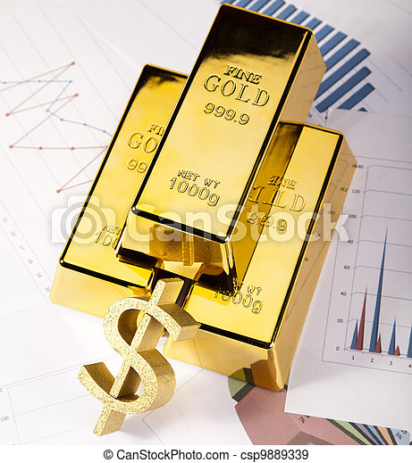 Gold bars with a linear graph - csp9889339