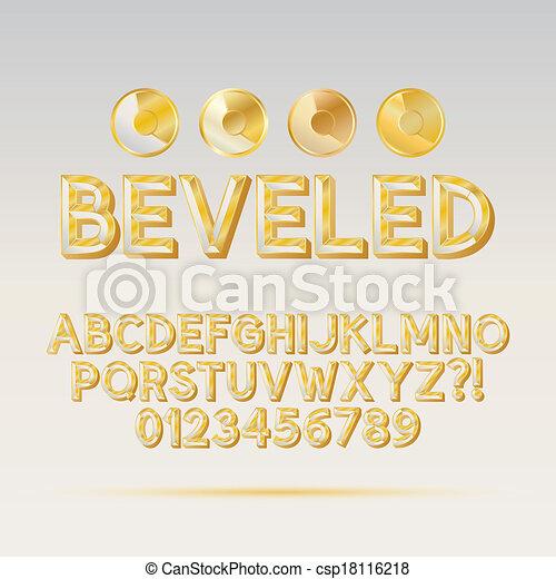 Gold Beveled Outline Font and Digit - csp18116218
