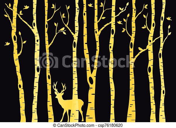 Gold birch trees with deer, vector - csp76180620