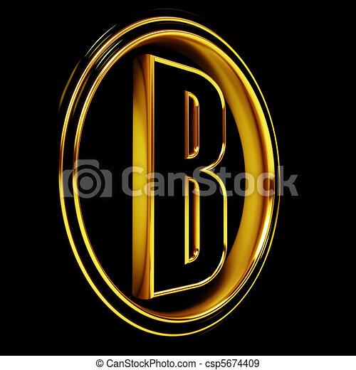 Gold Black Font Letter b - csp5674409