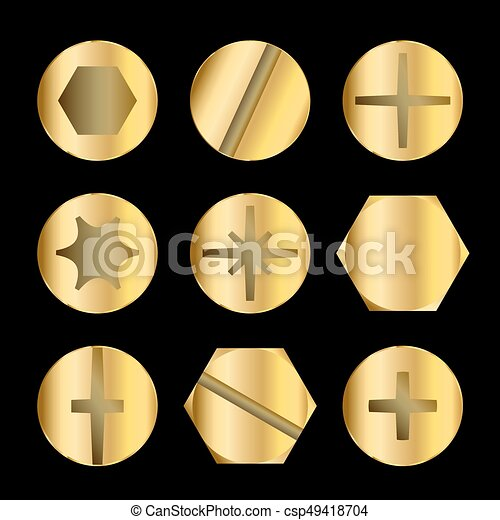 Gold Bolt And Screw Heads