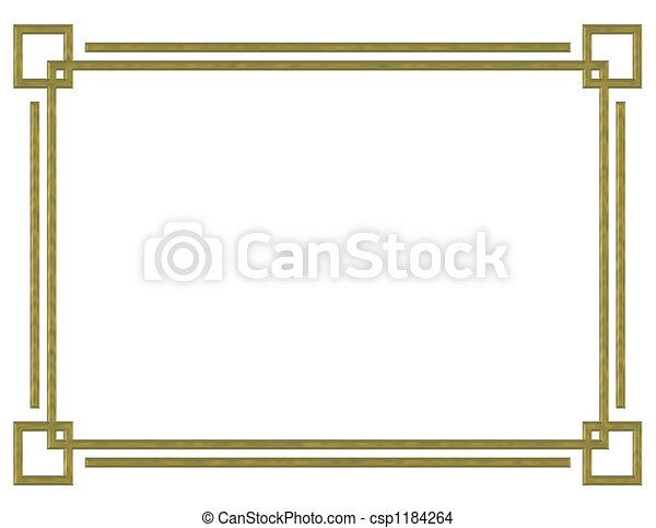 Gold Border Design Template For Party Or Wedding Invitation With