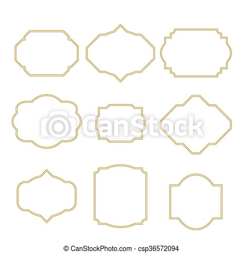 Gold border white empty frame set for cards. frame templates for ...