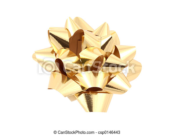 Gold Bow - Clipping Path - csp0146443