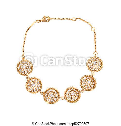 gold bracelet with diamond on a white background - csp52799597
