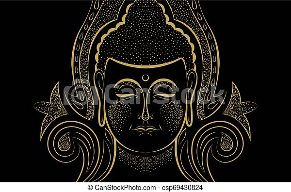 Gold Buddha face traditional asian art concept - csp69430824