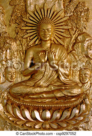 Gold Buddha Sitting In Lotus Flower Golden Buddha Carving With